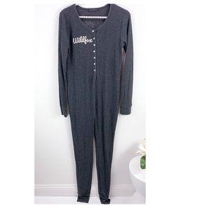 Wildfox Grey Onesie Thermal Jumpsuit
